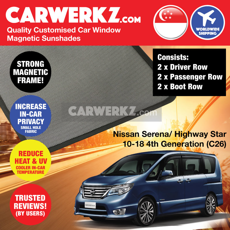 Nissan Serena Highway Star 2010 2011 2012 2013 2014 2015 2016 2017 2018 4th Generation (C26) Customised Japan MPV Window Magnetic Sunshades 6 Pieces - carwerkz sg th ph au jp