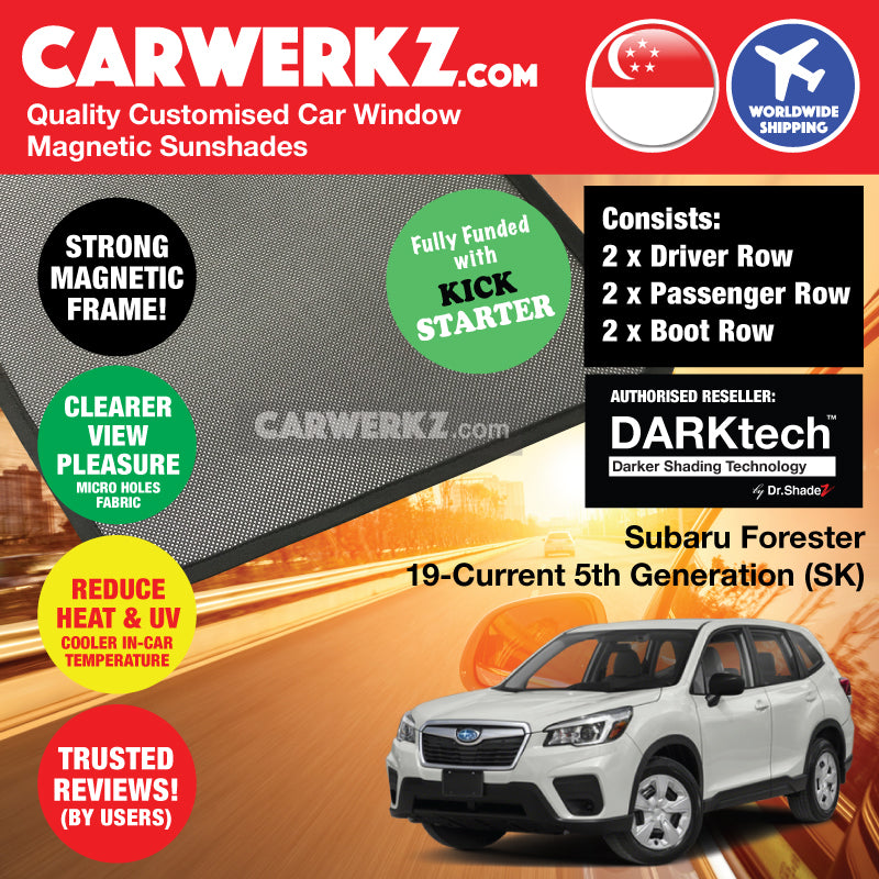 DARKtech Subaru Forester 2019-Current 5th Generation (SK) Japanese Subcompact Crossover SUV Customised SUV Window Magnetic Sunshades - carwerkz singapore japan australia united kingdom