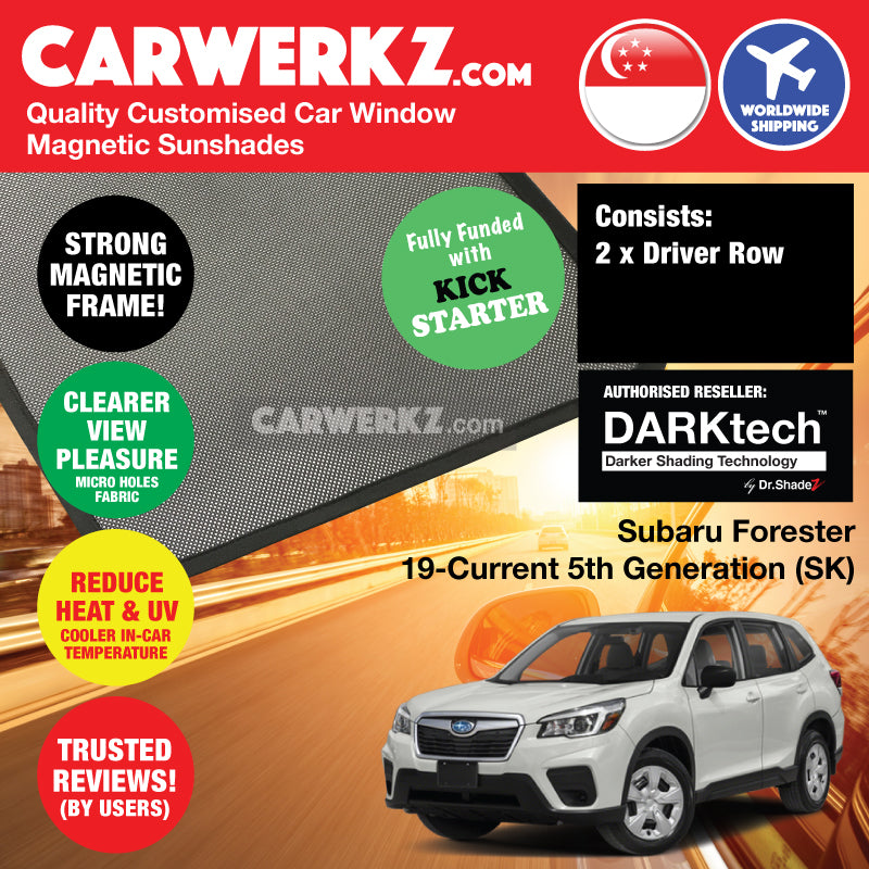 DARKtech Subaru Forester 2019-Current 5th Generation (SK) Japanese Subcompact Crossover SUV Customised SUV Window Magnetic Sunshades - carwerkz singapore japan australia united kingdom driver windows
