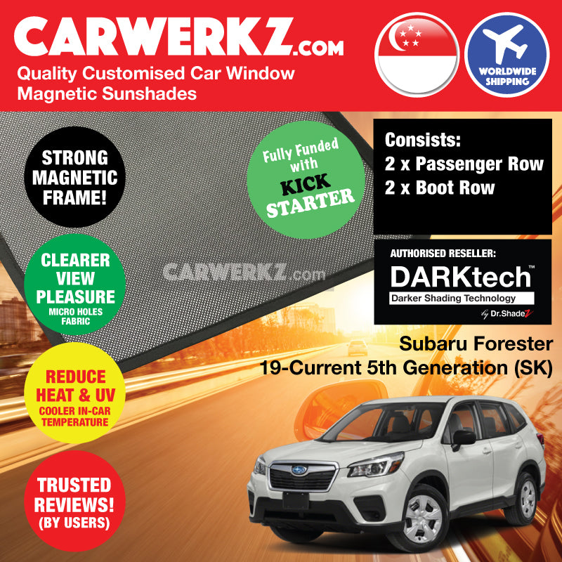 DARKtech Subaru Forester 2019-Current 5th Generation (SK) Japanese Subcompact Crossover SUV Customised SUV Window Magnetic Sunshades - carwerkz singapore japan australia united kingdom passenger windows