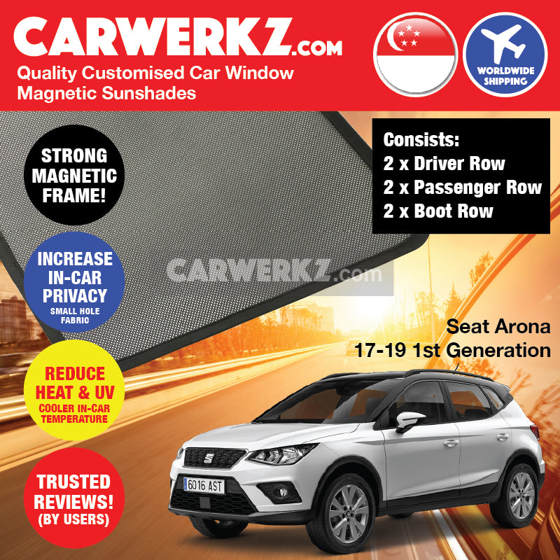 Seat Arona 2017 2018 2019 1st Generation Spain Compact SUV Customised Car Window Magnetic Sunshades 6 Pieces - carwerkz.com.sg