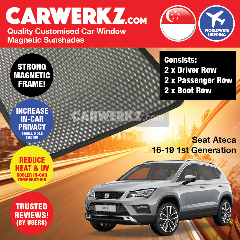 Seat Ateca 2016 2017 2018 2019 1st Generation Spain Compact SUV Customised Car Window Magnetic Sunshades 6 Pieces - carwerkz.com sg