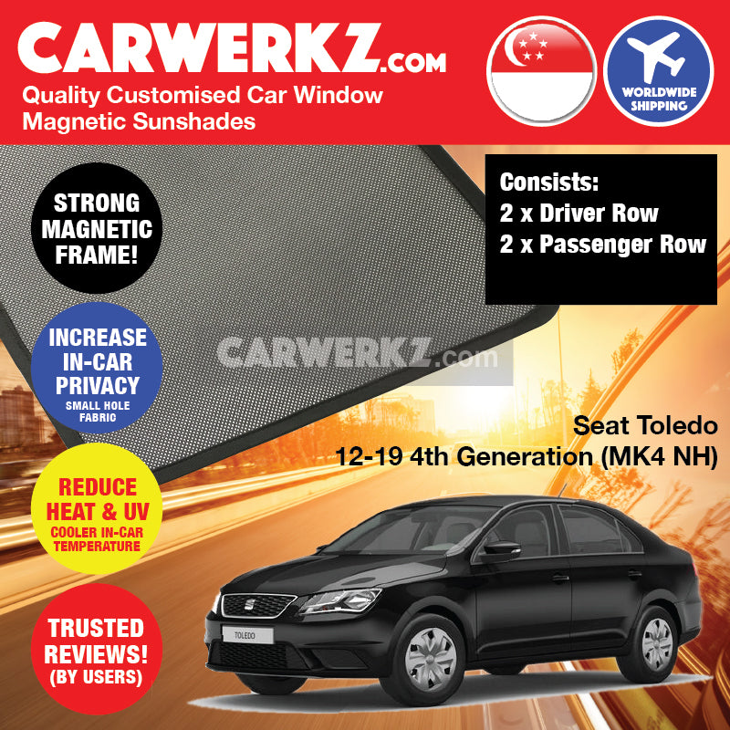 Seat Toledo 2012 2013 2014 2015 2016 2017 2018 2019 4th Generation MK4 NH Spain Compact Sedan Customised Car Window Magnetic Sunshades 4 Pieces - carwerkz.com sg