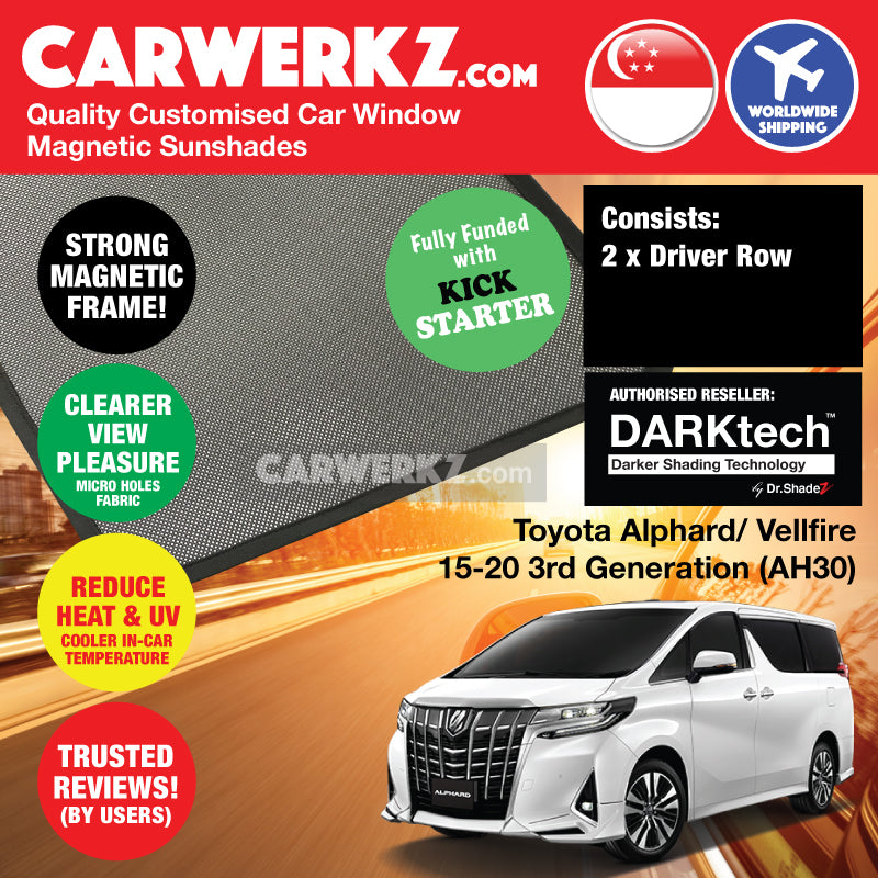 Dr Shadez DARKtech Toyota Alphard Vellfire 2015 2016 2017 2018 2019 3rd Generation (ANH30) Japan Large MPV Customised Car Window Magnetic Sunshades Driver Windows 2 Pieces - dr shadez jp my sg ph th br vn de uk - carwerkz sg my th ph ir it vn mc de