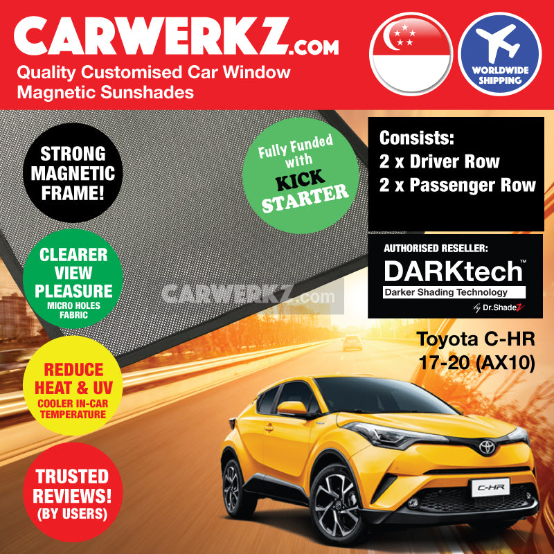 DARKtech Toyota C-HR CHR 2017-2020 1st Generation (AX10) Japan Subcompact Crossover SUV Customised Car Window Magnetic Sunshades - CarWerkz