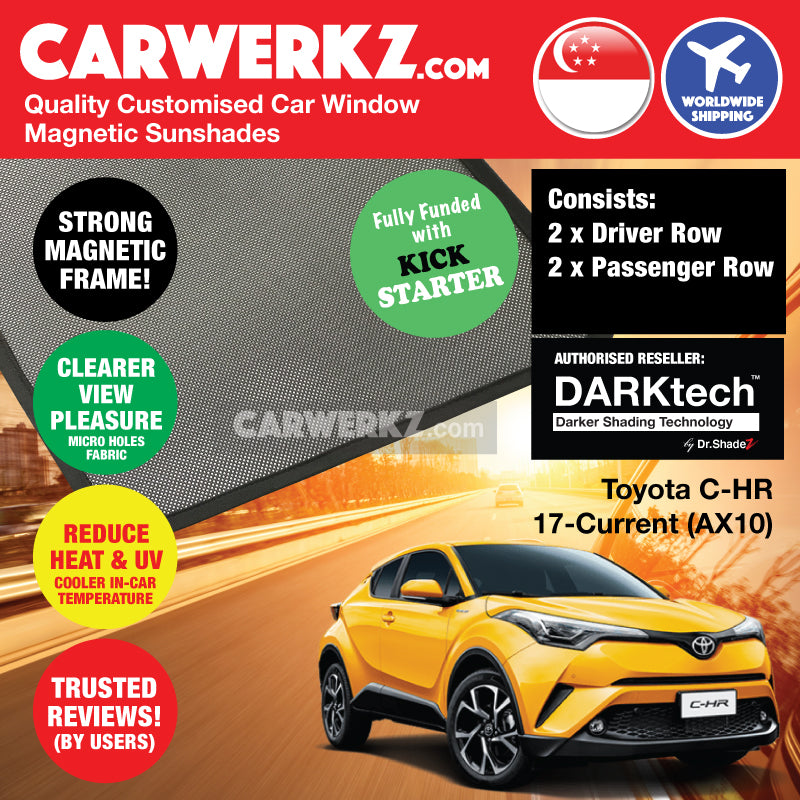 DARKtech Toyota C-HR CHR 2017-Current 1st Generation (AX10) Japan Subcompact Crossover SUV Customised Car Window Magnetic Sunshades