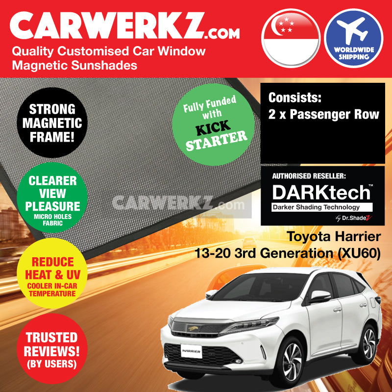 Dr Shadez DARKtech Toyota Harrier 2013-2019 3rd Generation (XU60) Japan SUV Customised Car Window Magnetic Sunshades Passenger Windows 2 Pieces - carwerkz.com