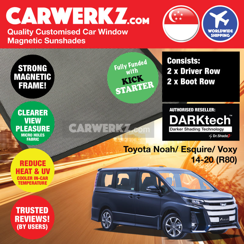 Dr Shadez DARKtech Toyota Noah Voxy Esquire 2014-2019 3rd Generation (R80) Japan MPV Customised Car Window Magnetic Sunshades Driver + Boot Windows 4 Pieces - CarWerkz SG AU JP