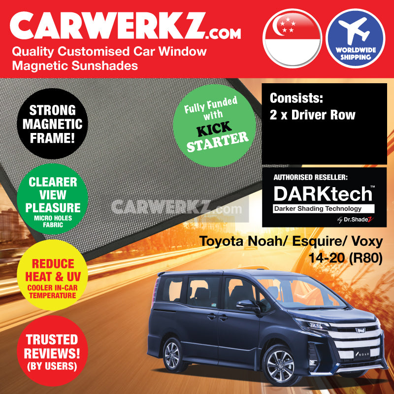 Dr Shadez DARKtech Toyota Noah Voxy Esquire triplets 2014-2019 3rd Generation (R80) Japan MPV Customised Car Window Magnetic Sunshades Driver Windows 2 Pieces - carwerkz sg jp au