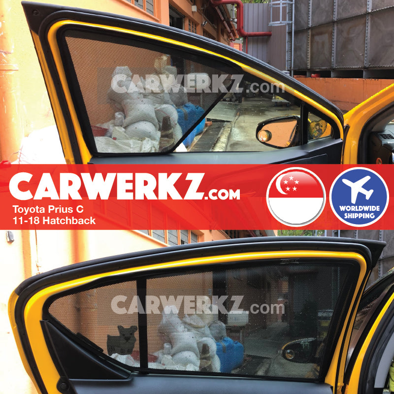 Toyota Prius C Hatchback 2011 2012 2013 2014 2015 2016 2017 2018 Customised Car Window Magnetic Sunshades Fitting Fitment Photos - CarWerkz