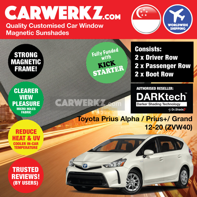 DARKtech Toyota Prius Alpha Prius V Prius+ 2012-2019 (ZVW40) Japan MPV Customised Car Window Magnetic Sunshades Side Windows 6 Pieces - CarWerkz