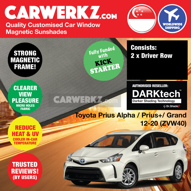 Dr Shadez DARKtech Toyota Prius Alpha Prius V Prius+ 2012-2019 (ZVW40) Japan MPV Customised Car Window Magnetic Sunshades Driver Windows 2 Pieces - carwerkz au sg th jp nz de fr my