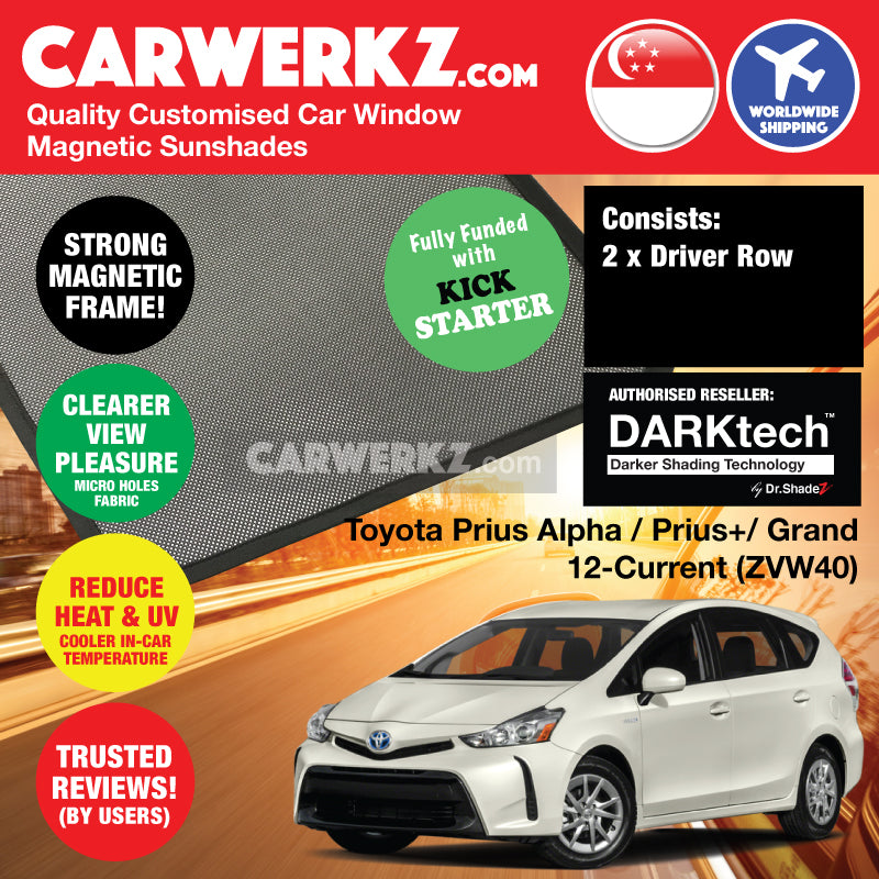 DARKtech Toyota Prius Alpha Prius V Prius+ 2012-Current (ZVW40) Japan MPV Customised Car Window Magnetic Sunshades