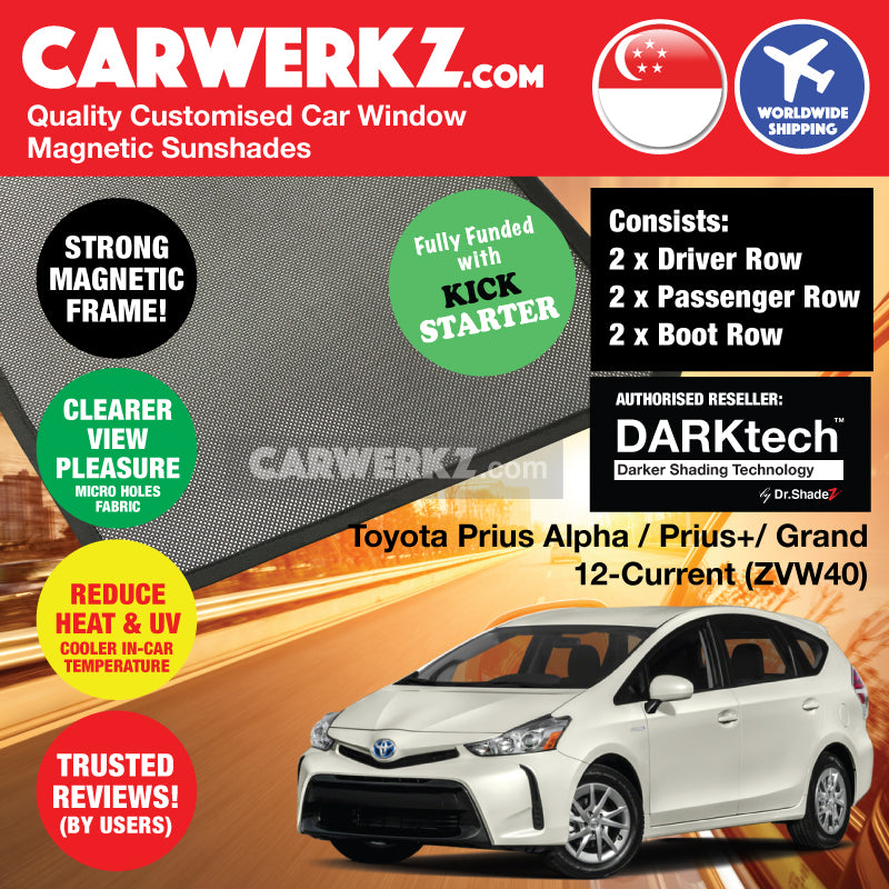 DARKtech Toyota Prius Alpha Prius V Prius+ 2012-Current (ZVW40) Japan MPV Customised Car Window Magnetic Sunshades - carwerkz singapore australia malaysia japan