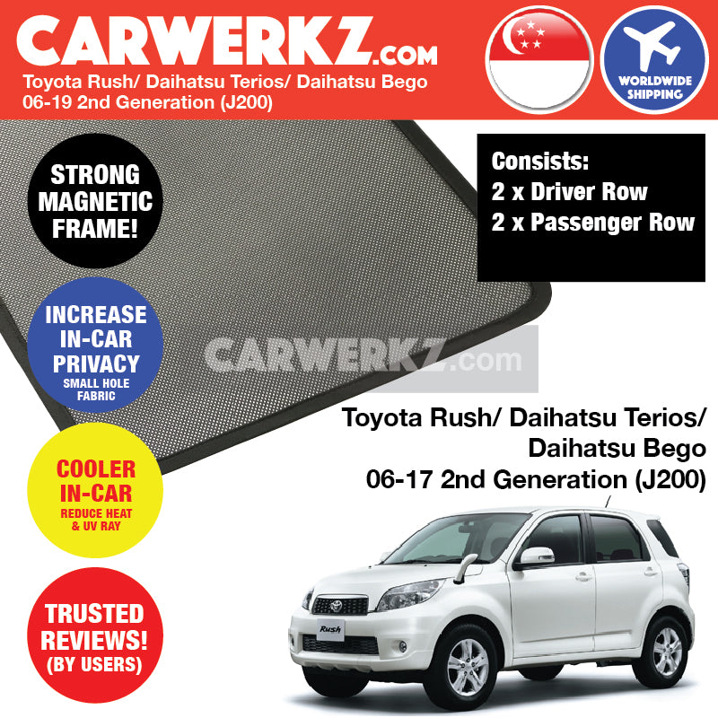 Toyota Rush Daihatsu Terios Bego 2006-2017 (J200) Customised Car Window Magnetic Sunshades 4 Pieces - CarWerkz