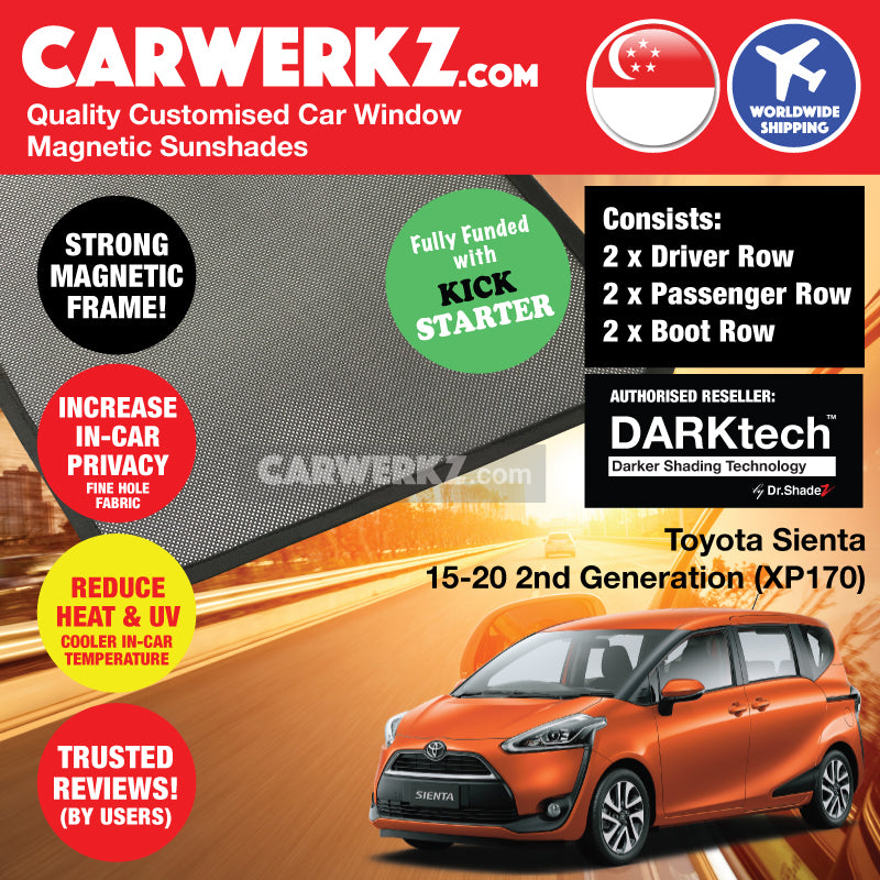 Dr Shadez DARKtech Toyota Sienta 2015-2019 2nd Generation (XP170) Japan Compact MPV Customised Car Window Magnetic Sunshades Side Windows 6 Pieces - carwerkz sg au jp