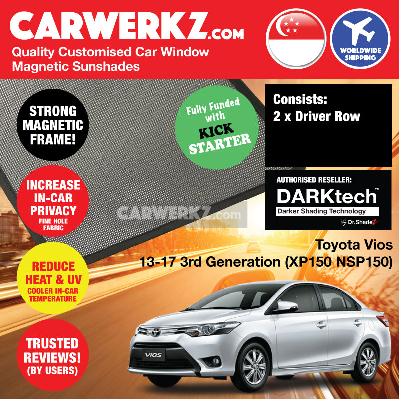 Dr Shadez DARKtech Toyota Vios 2013-2017 3rd Generation (XP150) Customised Japan Sedan Window Magnetic Sunshades Driver Windows 2 Pieces - CarWerkz
