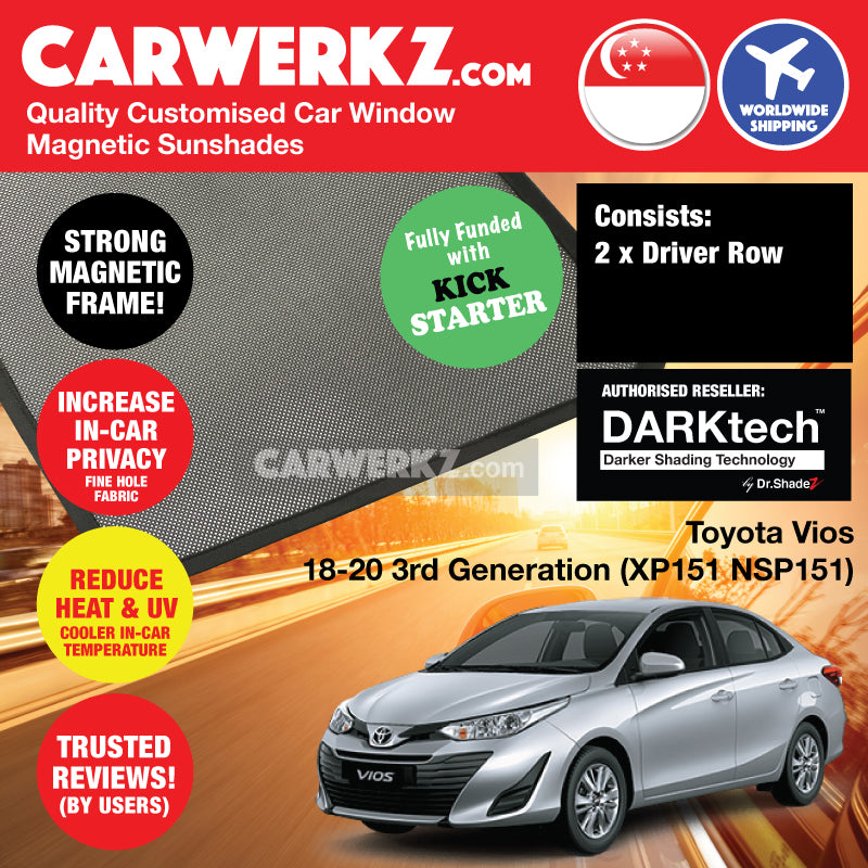 DARKtech Toyota Vios 2018-2020 3rd Generation (XP151 NSP151) Customised Japan Sedan Window Magnetic Sunshades Driver Windows 2 Pieces - CarWerkz