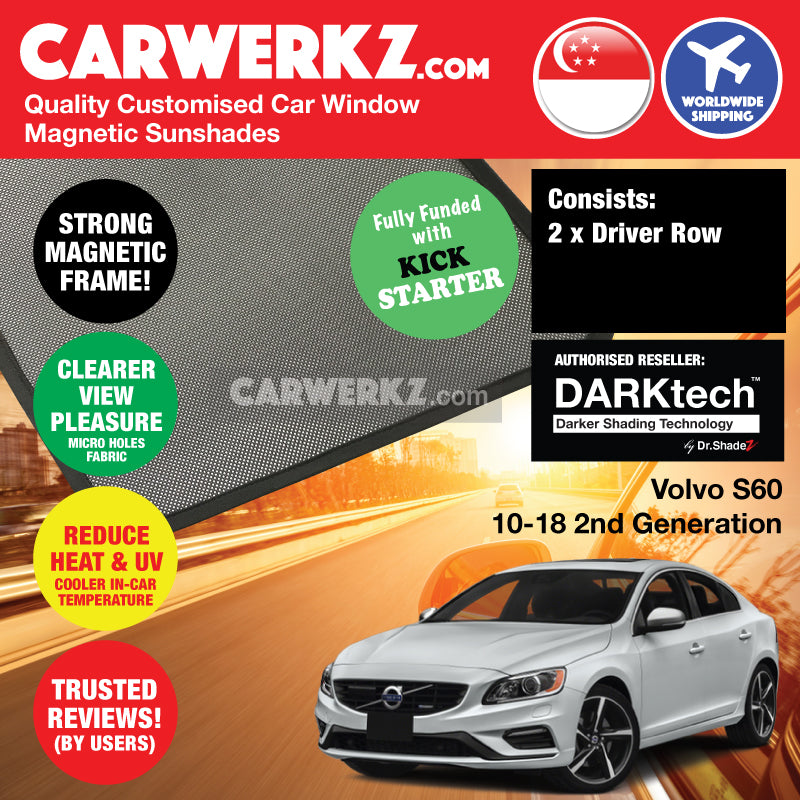 DARKtech Volvo S60 2010-2018 2nd Generation Sweden Luxury Sedan Customised Car Window Magnetic Sunshades - carwerkz sweden singapore australia japan usa driver door windows