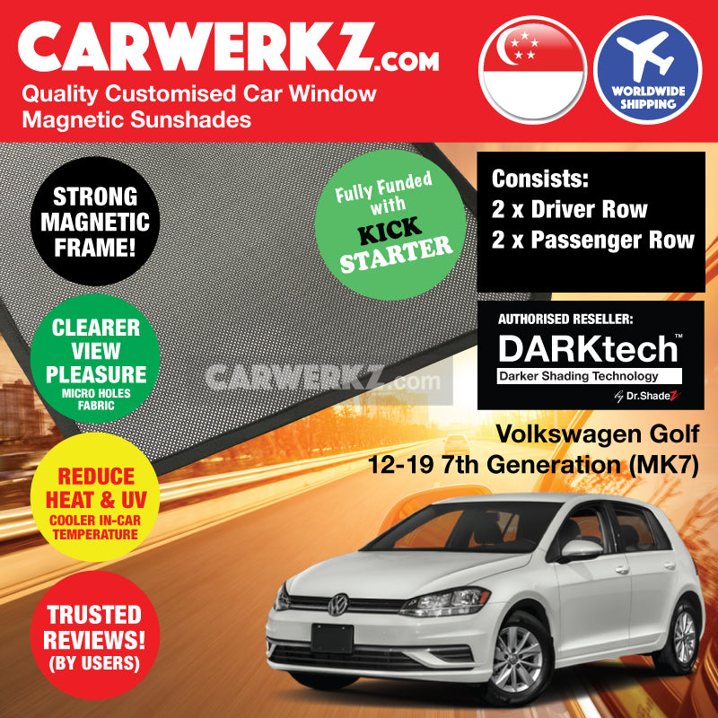 DARKtech Volkswagen Golf 2012-2019 7th Generation (MK7) Germany Hatchback Customised Car Window Magnetic Sunshades Side Windows 4 Pieces - CarWerkz
