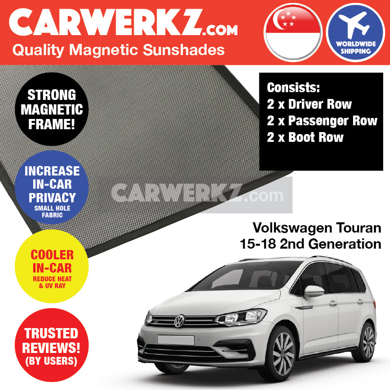 Volkswagen Touran 2015 2016 2017 2018 2nd Generation Customised Germany MPV Window Magnetic Sunshades 6 Pieces - CarWerkz.com