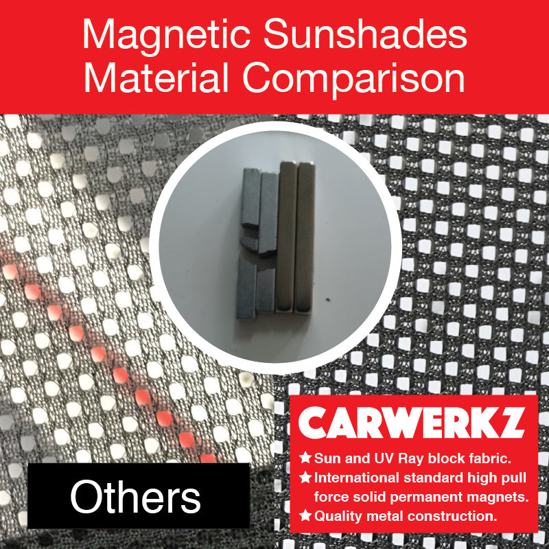 Mitsubishi Attrage / Mirage Sedan 2015 2016 2017 2018 2019 6th Generation Customised Car Window Magnetic Sunshades 4 Pieces block sun block uv ray block heat fabric snap on magnets - carwerkz singapore malaysia australia