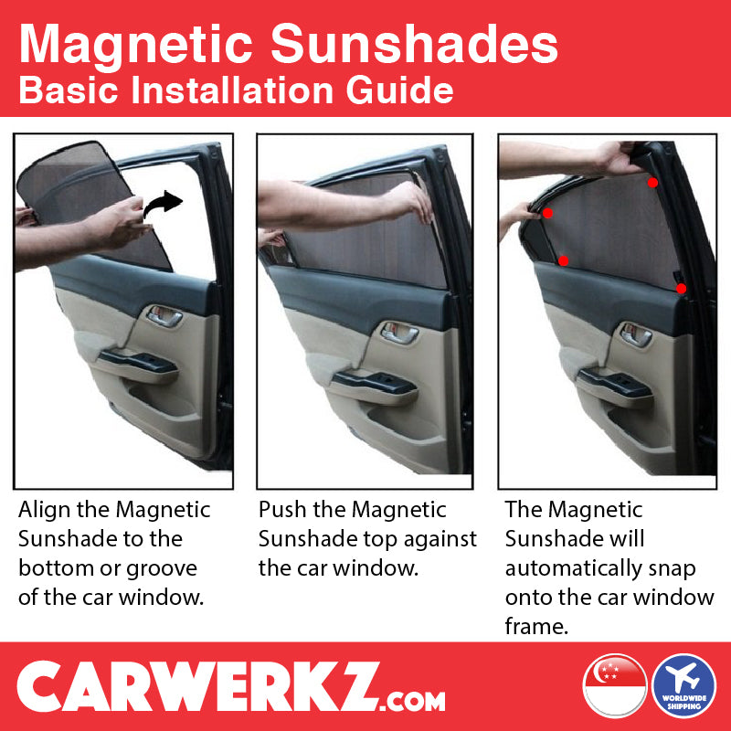 Seat Arona 2017 2018 2019 1st Generation Spain Compact SUV Customised Car Window Magnetic Sunshades 6 Pieces basic installation method - carwerkz.com.sg