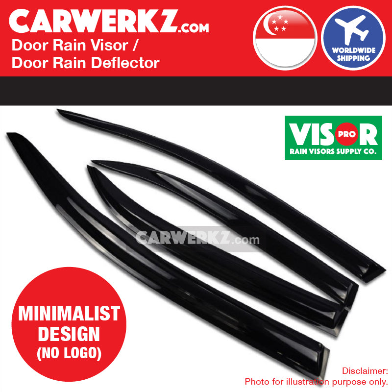 VISOR PRO Honda Civic 2014-2019 10th Generation (FC) Mugen Style Door Visors Rain Visors Rain Deflector Rain Guard No logo design - CarWerkz