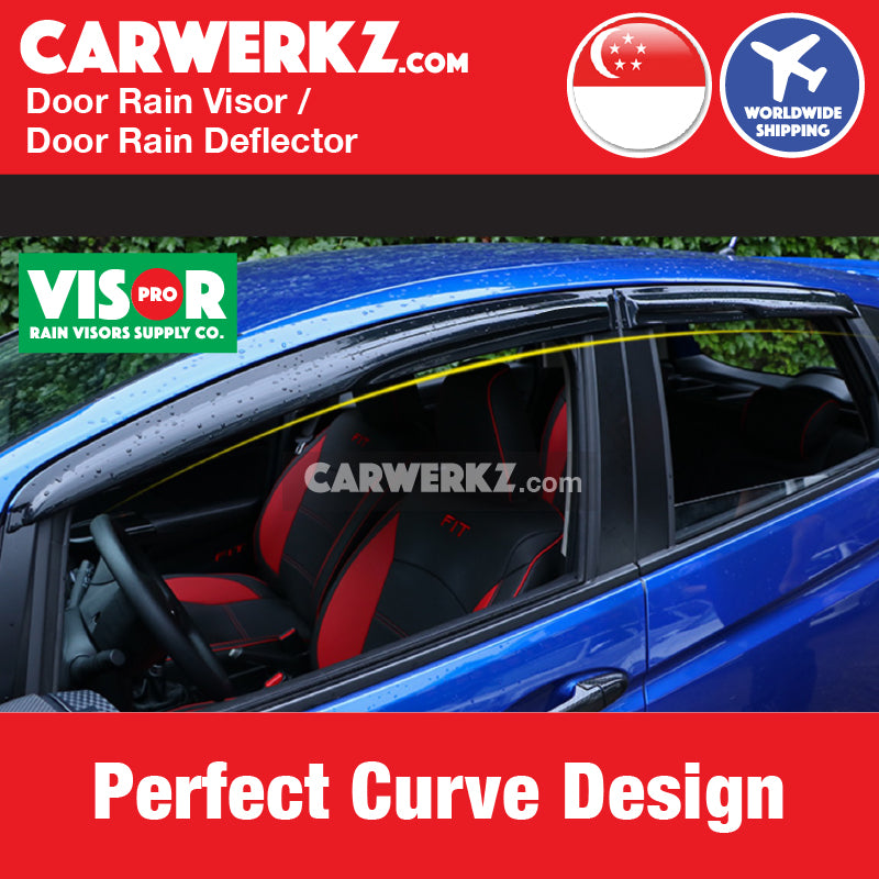VISOR PRO Honda Civic 2014-2019 10th Generation (FC) Mugen Style Door Visors Rain Visors Rain Deflector Rain Guard Perfect curve design - CarWerkz