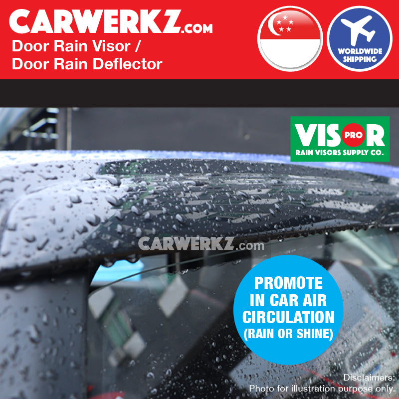 Toyota Corolla Altis 2014-2019 11th Generation (E170) Mugen Door Visors Rain Visors Rain Deflector Rain Guard prevent water flow in car - CarWerkz