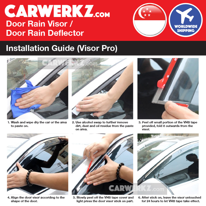 Mitsubishi Lancer Ex 2007-2018 1st Generation Mugen Door Visors Rain Visors Rain Deflector Rain Guard easy and simple installation method instruction - CarWerkz