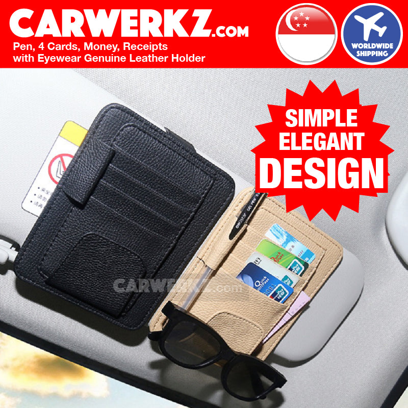 Pen 4 Cards and Receipts with Eyewear Leather Holder on Sun Visor - CarWerkz
