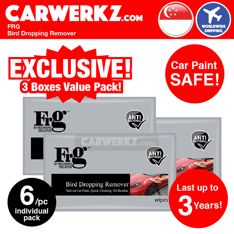 FRG Bird Dropping Remover Wipes Value Pack (6 pieces per box x 3 boxes) - CarWerkz