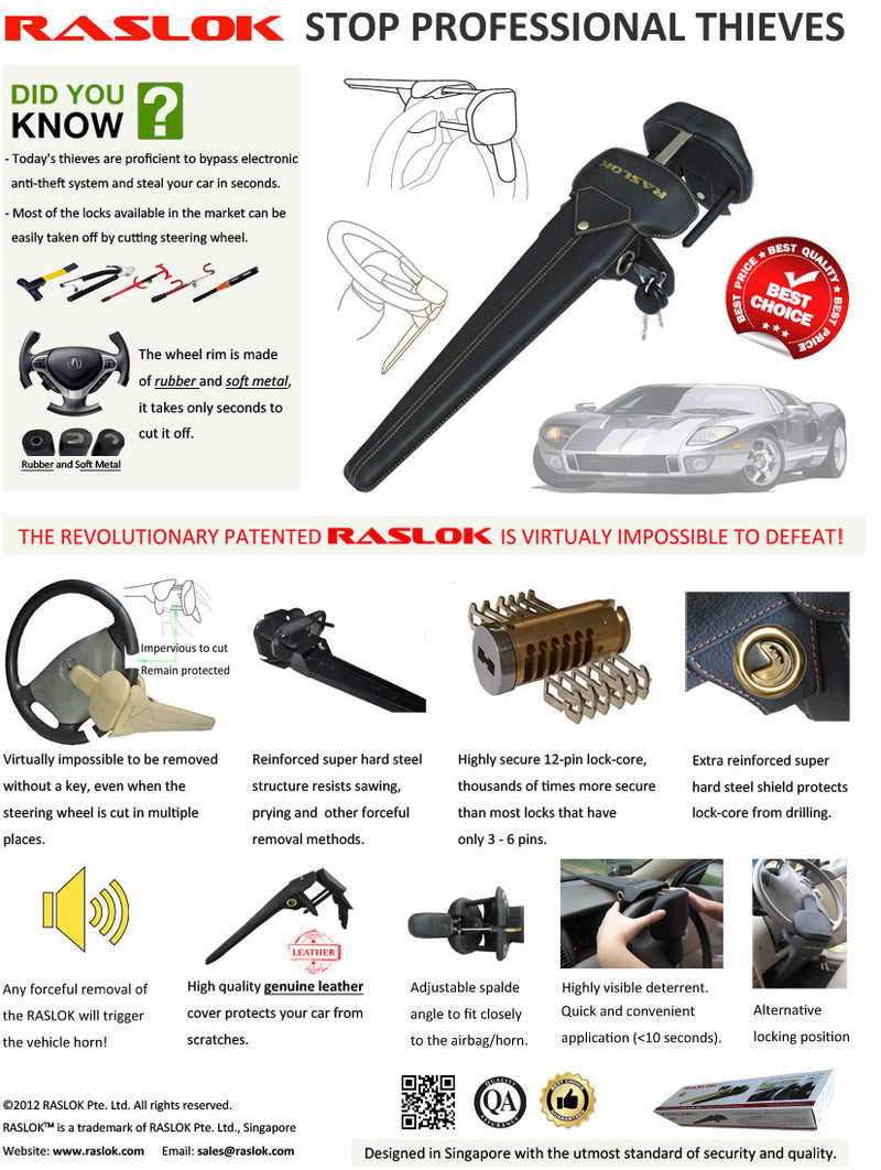 Raslok Car Steering Lock - CarWerkz