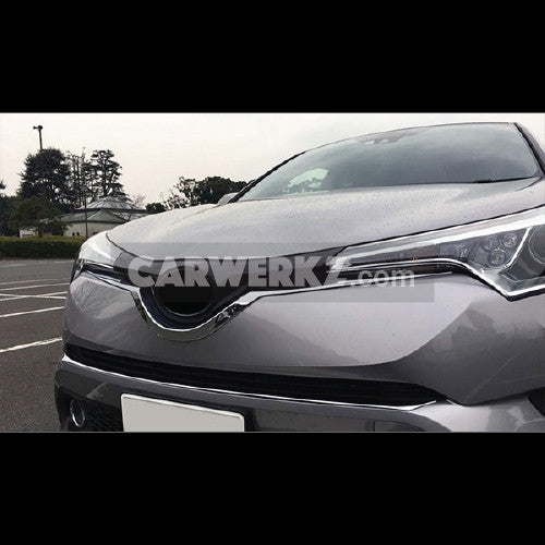 Toyota C-HR 2016-2017 Front Center Grill Grid U Shape Cover Trim 1pc Chrome - CarWerkz