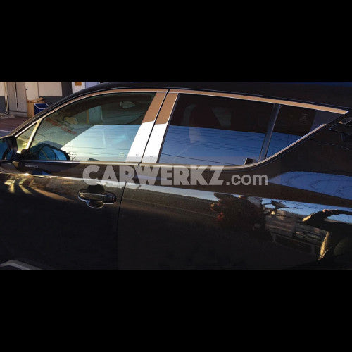 Toyota C-HR 2016-2017 Upper Window Sill Trim with Center Pillar Cover 10pcs Chrome - CarWerkz