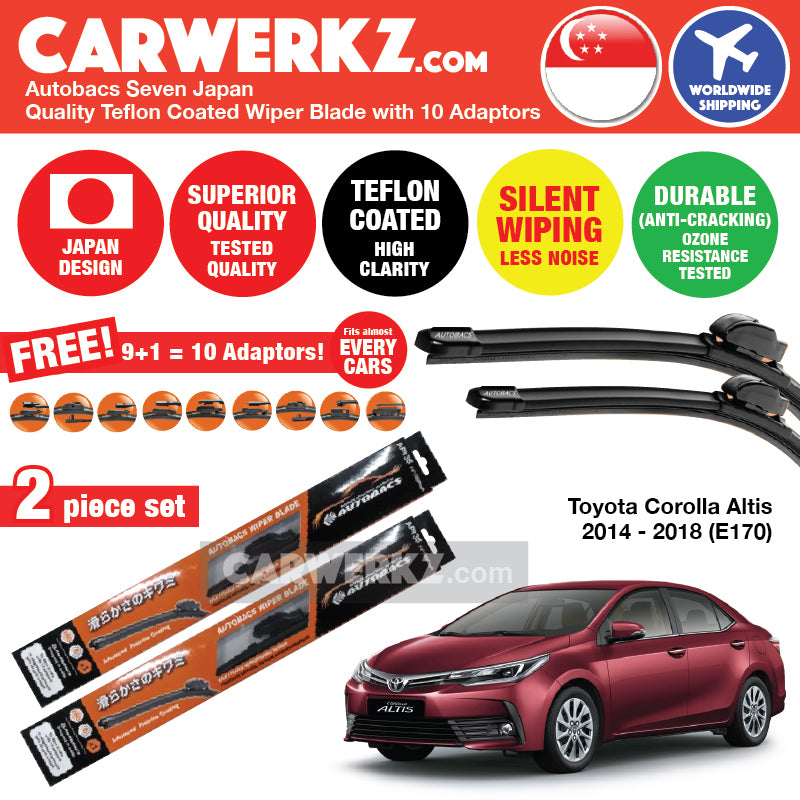 "Autobacs Seven Japan Teflon Coated Flex Aerodynamic Wiper Blade with 10 Adaptors for Toyota Corolla Altis 2014-2018 E170 (26""+14"") - CarWerkz"