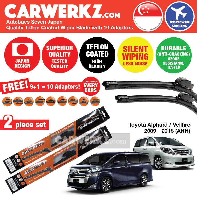 "Autobacs Seven Japan Teflon Coated Flex Aerodynamic Wiper Blade with 10 Adaptors for Toyota Alphard Vellfire 2008-2015 (ANH20) (28""+14"") - CarWerkz"