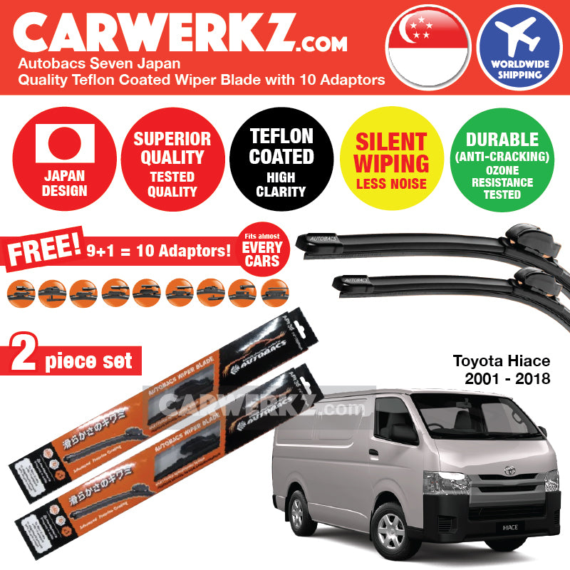 "Autobacs Seven Japan Teflon Coated Flex Aerodynamic Wiper Blade with 10 Adaptors for Toyota Hiace 2001-2018 (21""+21"") - CarWerkz"