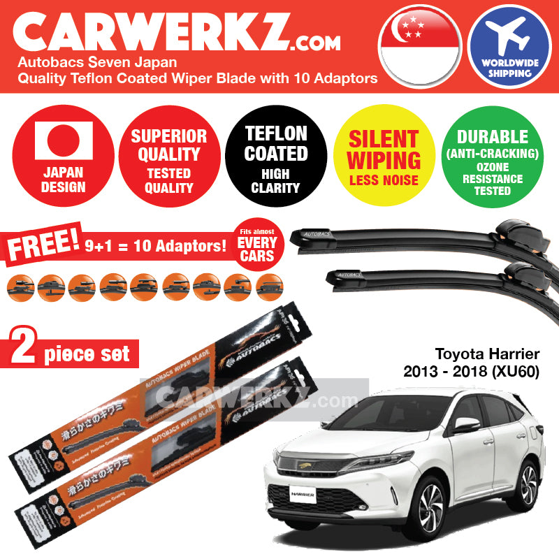 "Autobacs Seven Japan Teflon Coated Flex Aerodynamic Wiper Blade with 10 Adaptors for Toyota Harrier 2013-2018 XU60 (26""+16"") - CarWerkz"