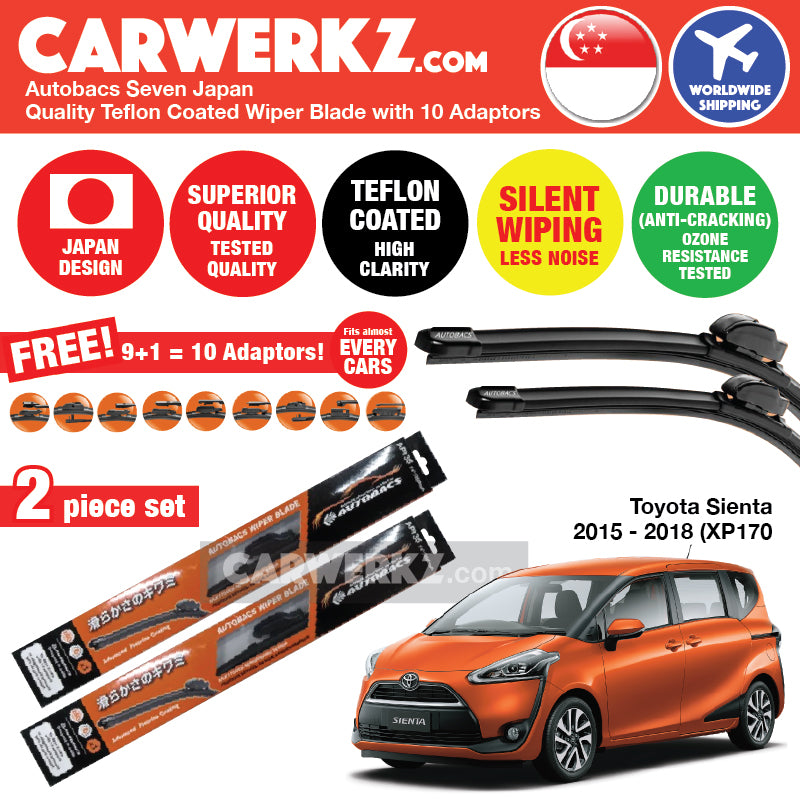 "Autobacs Seven Japan Teflon Coated Flex Aerodynamic Wiper Blade with 10 Adaptors for Toyota Sienta 2015-2018 XP170 (26""+14"") - CarWerkz"