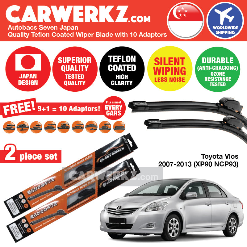 "Autobacs Seven Japan Teflon Coated Flex Aerodynamic Wiper Blade with 10 Adaptors for Toyota Vios 2007-2013 2nd Generation (XP90 NCP93) (24""+14"") - CarWerkz"