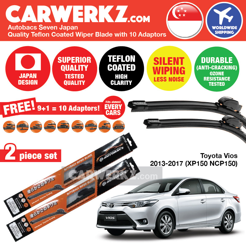 "Autobacs Seven Japan Teflon Coated Flex Aerodynamic Wiper Blade with 10 Adaptors for Toyota Vios 2013-2017 3rd Generation (XP150 NCP150) (24""+14"") - CarWerkz"