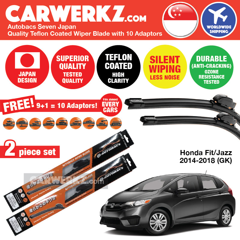 "Autobacs Seven Japan Teflon Coated Flex Aerodynamic Wiper Blade with 10 Adaptors for Honda Fit / Jazz 2014-2018 (26""+14"") - CarWerkz"