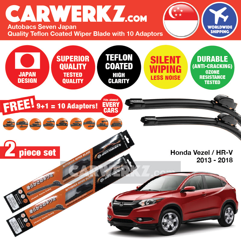"Autobacs Seven Japan Teflon Coated Flex Aerodynamic Wiper Blade with 10 Adaptors for Honda Vezel HR-V 2015-2018 (26""+18"") - CarWerkz"
