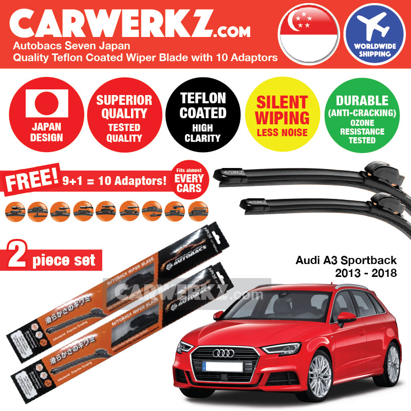 Autobacs Seven Japan Teflon Coated Flex Aerodynamic Wiper Blade with 10 Adaptors for Audi A3 S3 Sportback 2013-2018 (26 inch + 19 inch) - CarWerkz