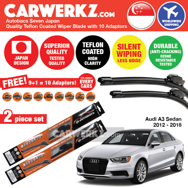 Autobacs Seven Japan Teflon Coated Flex Aerodynamic Wiper Blade with 10 Adaptors for Audi A3 S3 Sedan 2012-2018 (26 inch + 19 inch) - CarWerkz