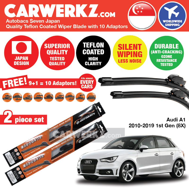Autobacs Seven Japan Teflon Coated Flex Aerodynamic Wiper Blade with 10 Adaptors for Audi A1 2010-2019 First Generation (8X) (24 inch + 16 inch) - CarWerkz