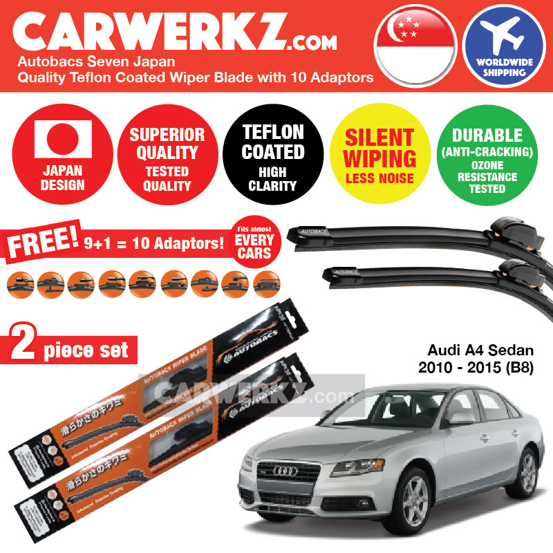 Autobacs Seven Japan Teflon Coated Flex Aerodynamic Wiper Blade with 10 Adaptors for Audi A4 Sedan 2010-2015 (B8) (24 inch + 20 inch) - CarWerkz