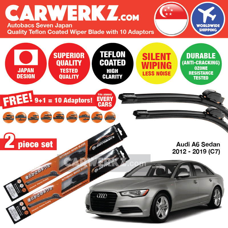 "Autobacs Seven Japan Teflon Coated Flex Aerodynamic Wiper Blade with 10 Adaptors for Audi A6 S6 2012-2019 (C7) 4th Generation (26""+21"") - CarWerkz"